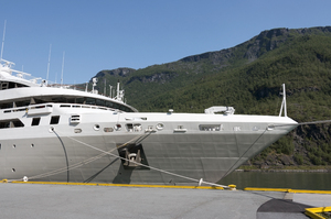 Ship prow: Prow of a large cruiser moored at a small jetty in a fjord in Norway.