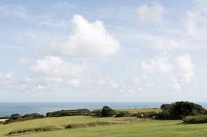 Landscape by the sea: Farmland near the sea in Sussex, England.