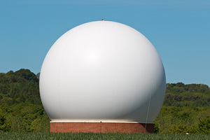 Giant dome: Part of a satellite ground station in Hampshire, England. Photography of this structure was freely permitted from the public road from where this shot was taken.