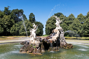 Fountain: A classical fountain in the grounds of Cliveden House, Berkshire, England. Photography at this National Trust site was freely permitted.