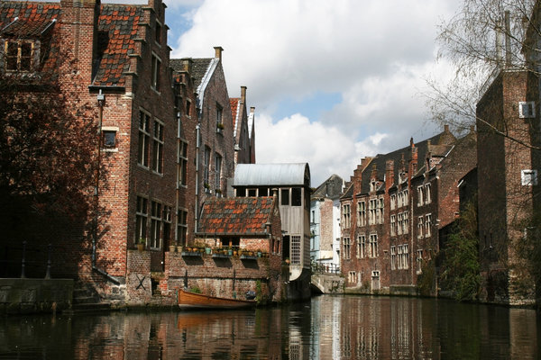City waterway: A canal in the old centre of Ghent, Belgium.