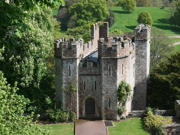 Castle gatehouse: The gatehouse of a castle in southwest England.