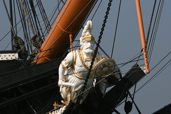 Figurehead: Figurehead of an old sailing ship in Portsmouth, England.