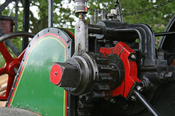 Machinery: Parts of an old steam engine at a display in West Sussex, England.
