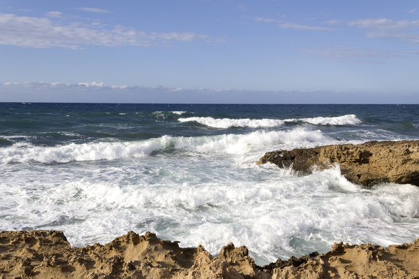 Coastline: Waves breaking on the coast of Cyprus.