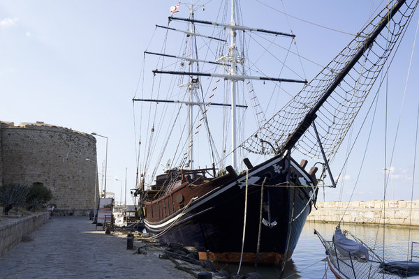 Old sailing ship: An old sailing ship in harbour in northern Cyprus.