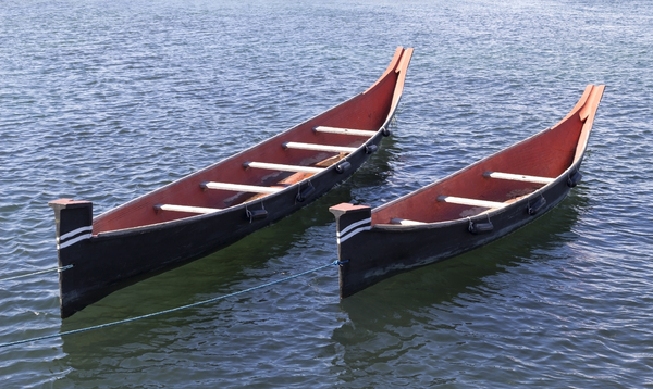 Canadian canoes: Two traditional style Canadian canoes.