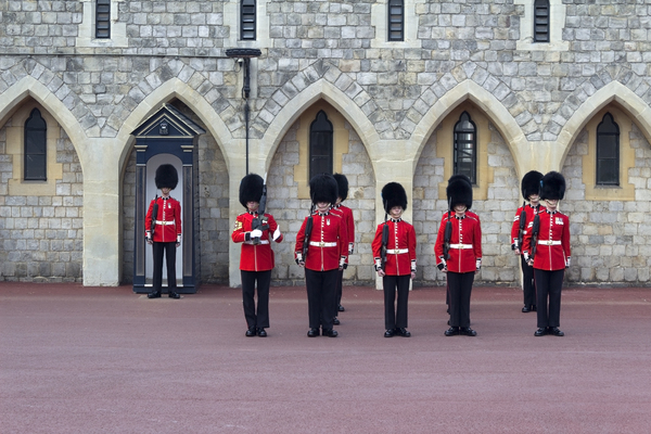 Changing of the Guard: The ceremony of the Changing of the Guard at Windsor Castle, England. Photography of soldiers participating in this ceremony is freely permitted.