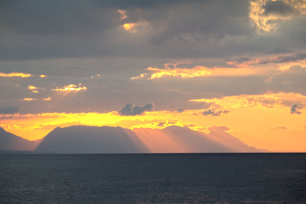 Distant sunset: Sunset on the coast of northern Cyprus.