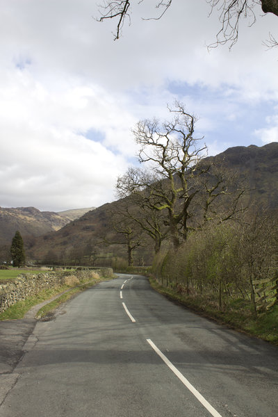 Country road: A road in the Lake District, Cumbria, England, in early spring.
