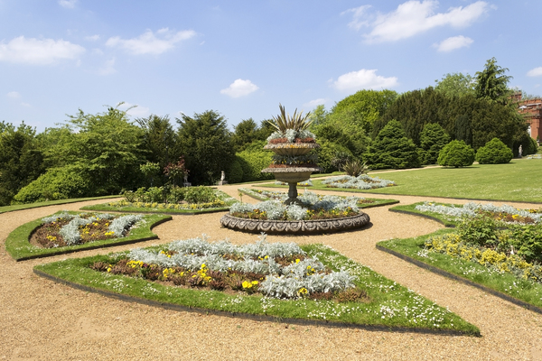 Formal garden: A formal garden in the grounds of Hughenden Manor, a Victorian mansion in Buckinghamshire, England. Photography of this National Trust property is freely permitted.
