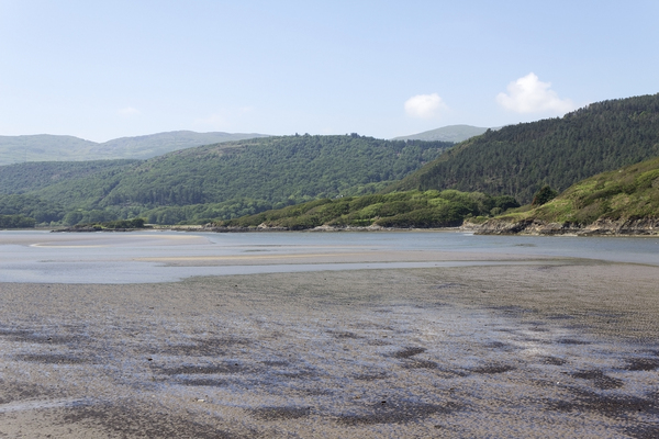 Wales estuary: The Mawddach Estuary, Wales, at low tide.