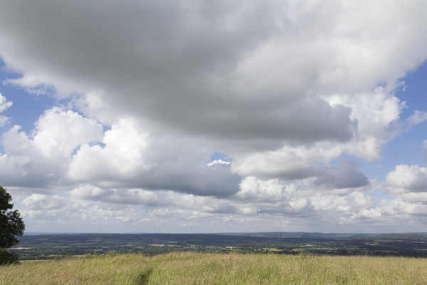 Clouds and landscape: Landscape of the South Downs, West Sussex, England.