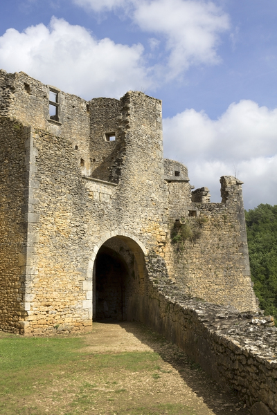 Castle remains: Remains of the castle at Bonaguil, France. Photography in the publicly accessible parts of this castle was freely permitted.