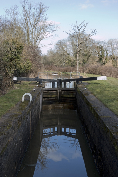 Lock gates: Lock gates on a canal in West Sussex, England.