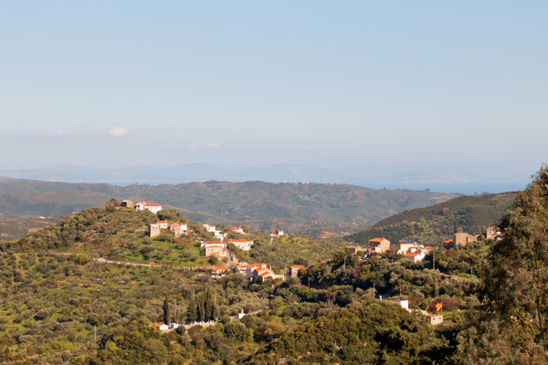 Hilltop village: A hilltop village in southern Greece in evening light in spring.