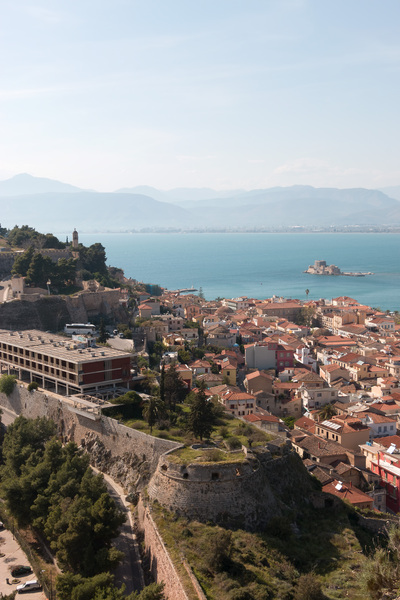 Old city: Fortifications and old harbour area of Nafplio, southern Greece.