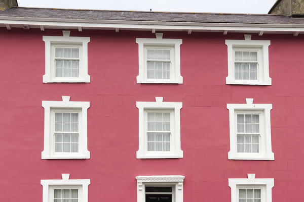Pink house: A rose pink house in Gwynedd, Wales.