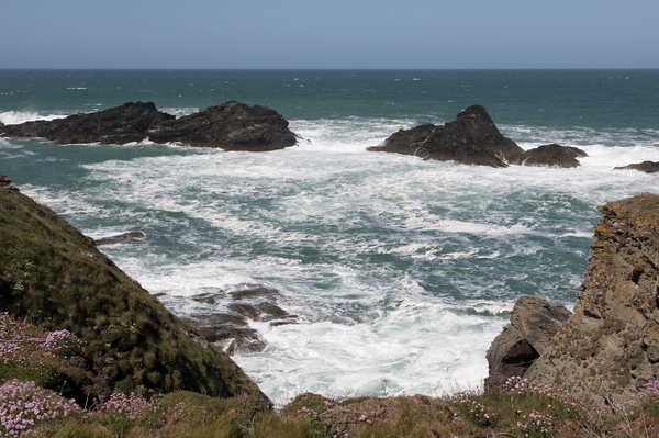 Seething waves: Seething waves off the coast of Cornwall, England.