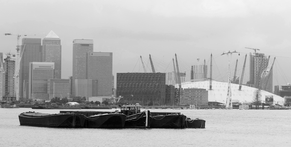 Canary Wharf, London B/W: B/W of view of Canary Wharf, London, England, from the south bank of the River Thames.