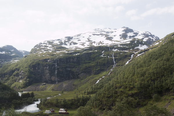 Norway mountains: View from a train of landscape in Norway.