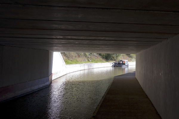Canal tunnel: A canal tunnel in West Sussex, England.