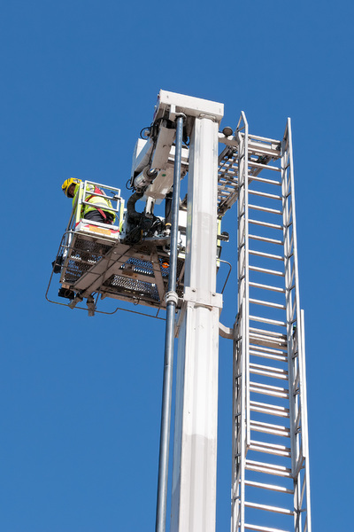 Top of emergency ladder: The top of a hydraulic ladder on an emergency services vehicle.