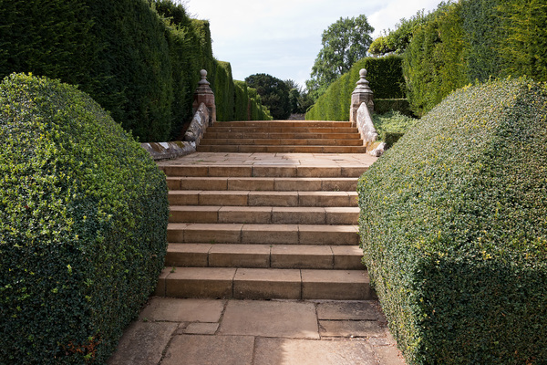 Garden steps and topiary: Stone steps and topiary in a garden at Penshurst Place, a stately home in Kent, England. Photography in these grounds was freely permitted.