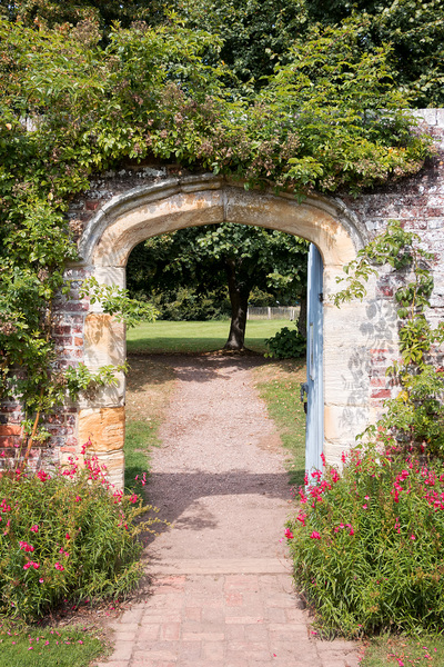 Garden gate: A garden gate at Penshurst Place, a stately home in Kent, England. Photography in these grounds was freely permitted.