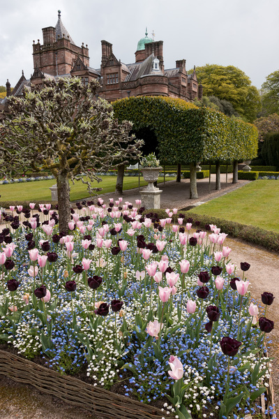 Formal garden: A formal garden at Holker Hall, Cumbria, England. Photography in the grounds of this stately home was freely permitted.