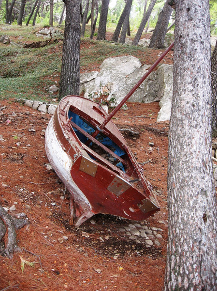 sad and broken boat: none