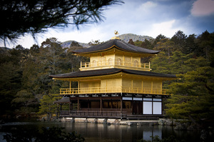 ::the golden pavilion:: 1: Kinkakuji, or the Golden Pavilion located in an authentic city of Kyoto, Japan