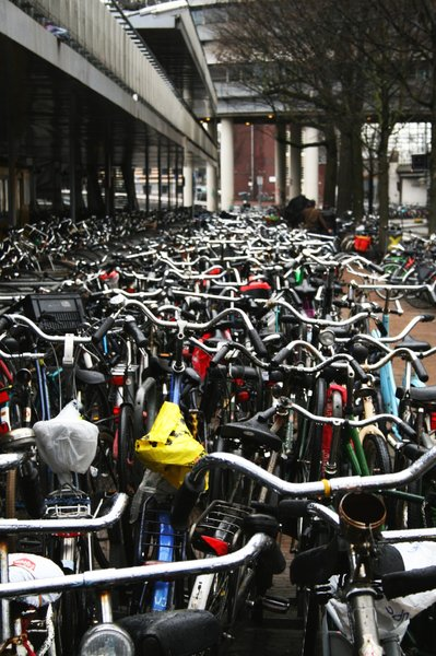Bikes parked in Amsterdam: Shot in April 2010 next to the Central Railway Station.