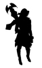 Female Warrior: A female warrior silhouette.