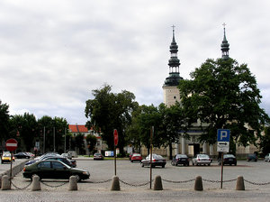 Town's center: A town's center with church's tower.