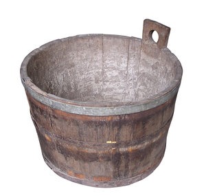 Wooden basket: A basket made of wood. It might be an old bathtube.