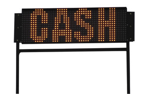 Neon sign: A neon sign. Cash!