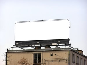 Billboard: A billboard. Empty.
