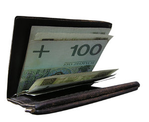 Wallet with cash: Some cash. Polish zlotys.