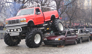 Monster truck: A monster truck in action.