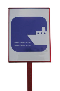 Ferry sign: A water tramway sign.