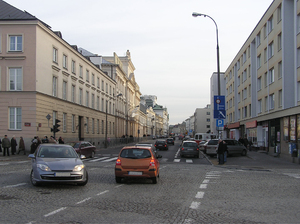 Cobblestone street: A cobblestone street in Warsaw (Długa and Miodowa junction).