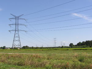 Electricity: An electric pole.