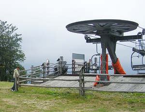 Chairlift base: An upper chairlift  base in Poland.
