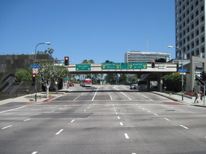 Downtown LA: A downtown of Los Angeles. Wide road