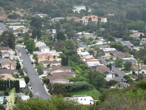 West Hollywood hills: West Hollywood hill terraces. A view from Mullholland Drive.