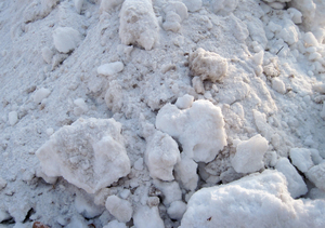 Caked snow: Some caked snow in a pile.