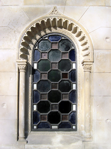 Old window: An old window of a chapel. Evangelical-Augsburg Cemetery, Warsaw