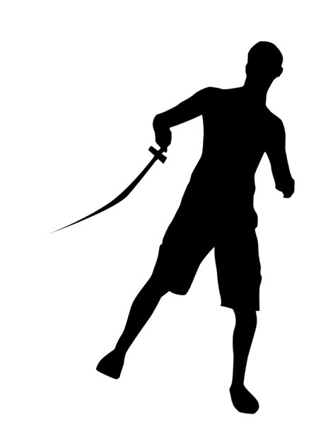 Swordsman silhouette: A guy with sword.