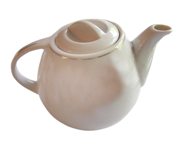 Teapot: An old teapot.